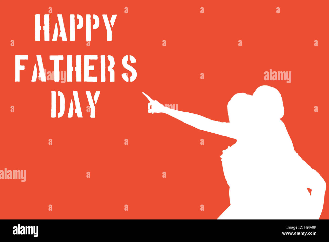 silhouettes pointing at happy fathers day message
