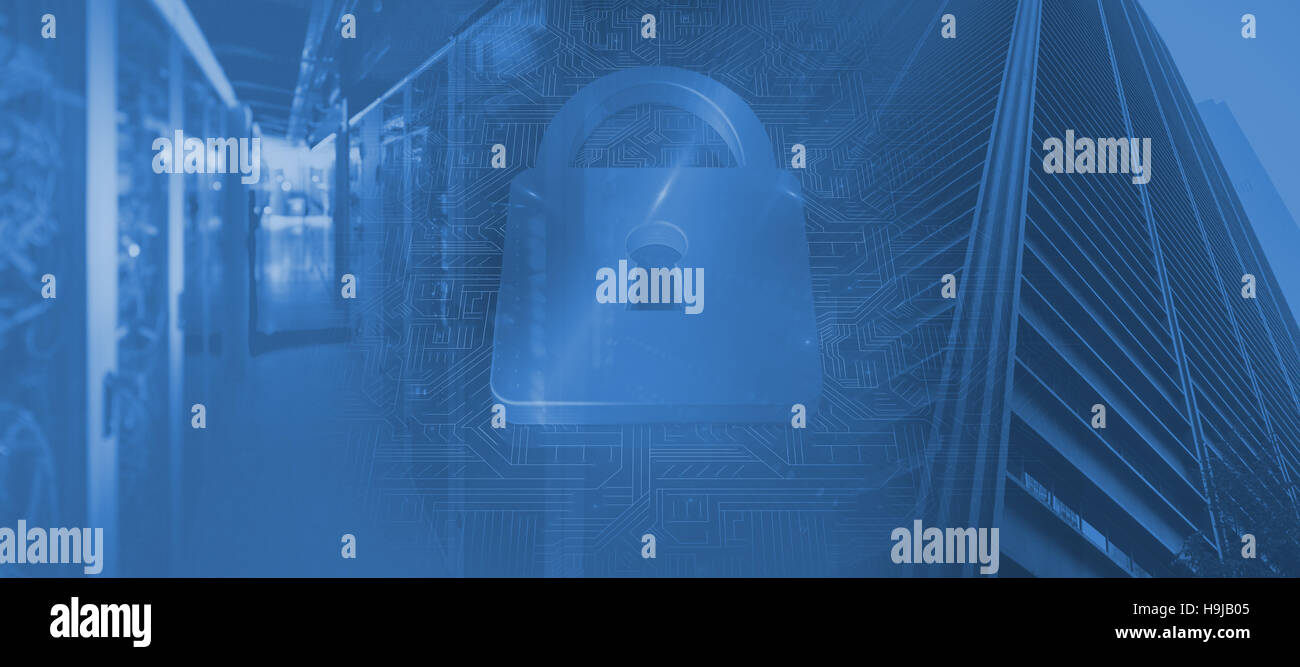 Composite image of lock on blue circuit background - Stock Image