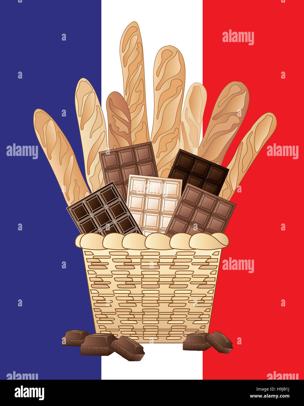 an illustration of a basket of long French loaves with bars of milk plain and white chocolate on a French flag background - Stock Image