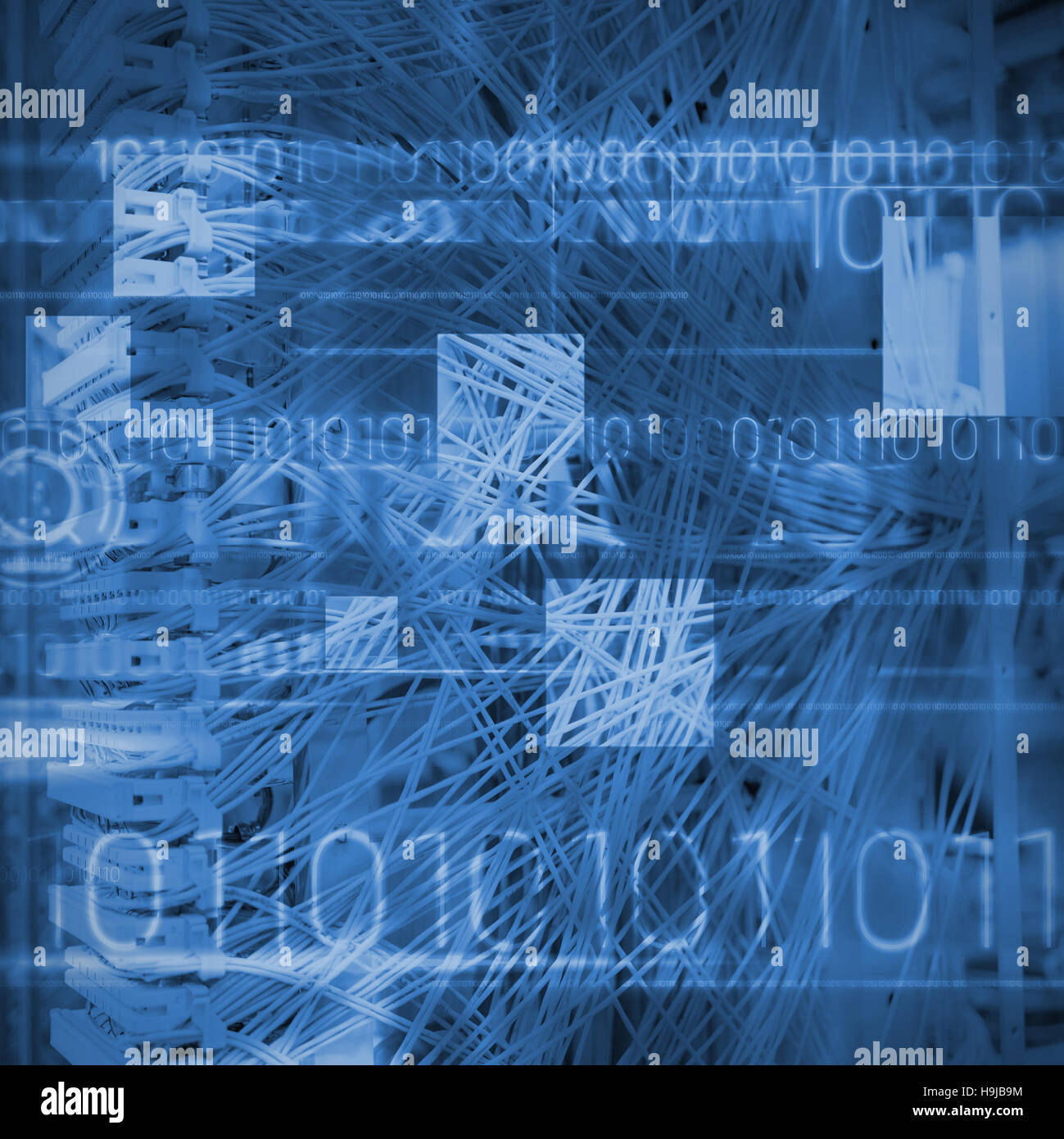 Composite image of blue technology design with binary code - Stock Image