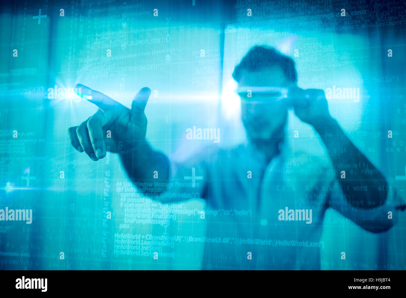 Composite image of some blue matrix and codes - Stock Image