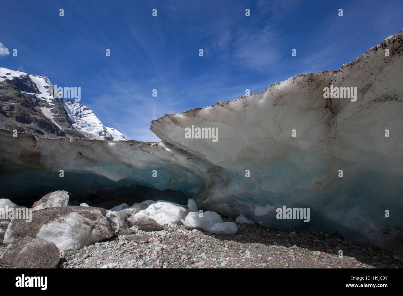Quick melting mountain glacier due to the global warming. - Stock Image