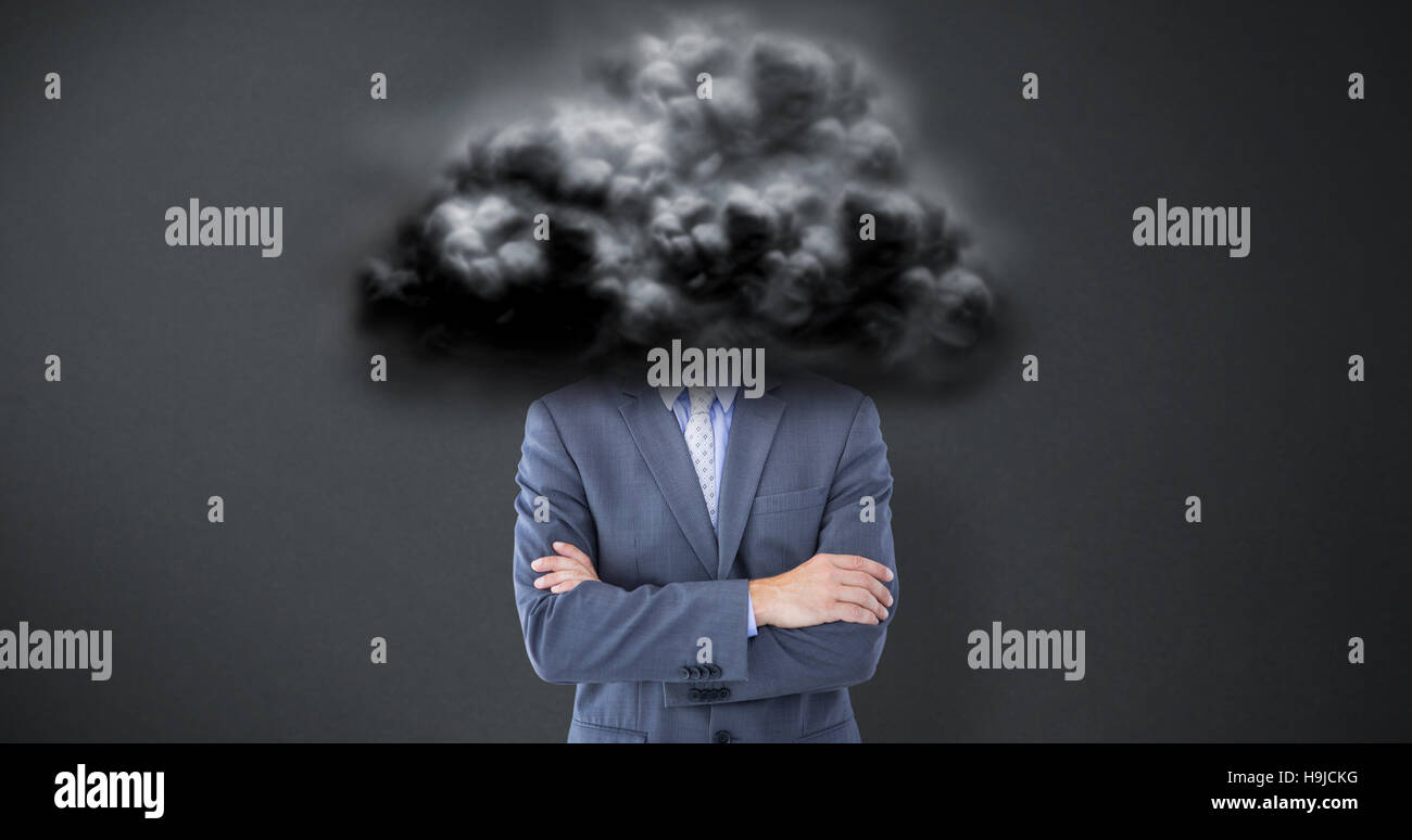 Composite image of portrait of smiling businessman standing hands folded - Stock Photo