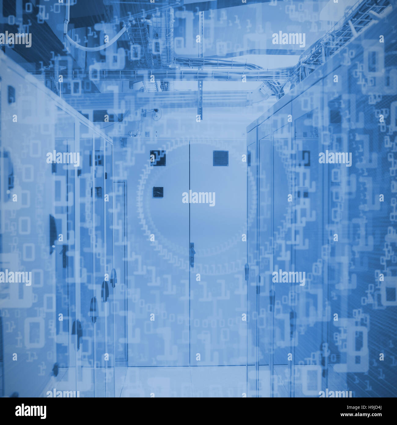Composite image of bright futuristic binary code spiral - Stock Image