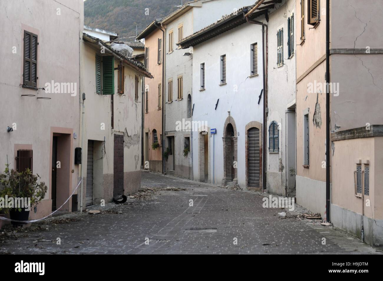 Earthquake in Center Italy, November 2016,  village of Muccia with the houses damaged and evacuated (Marche region) - Stock Image