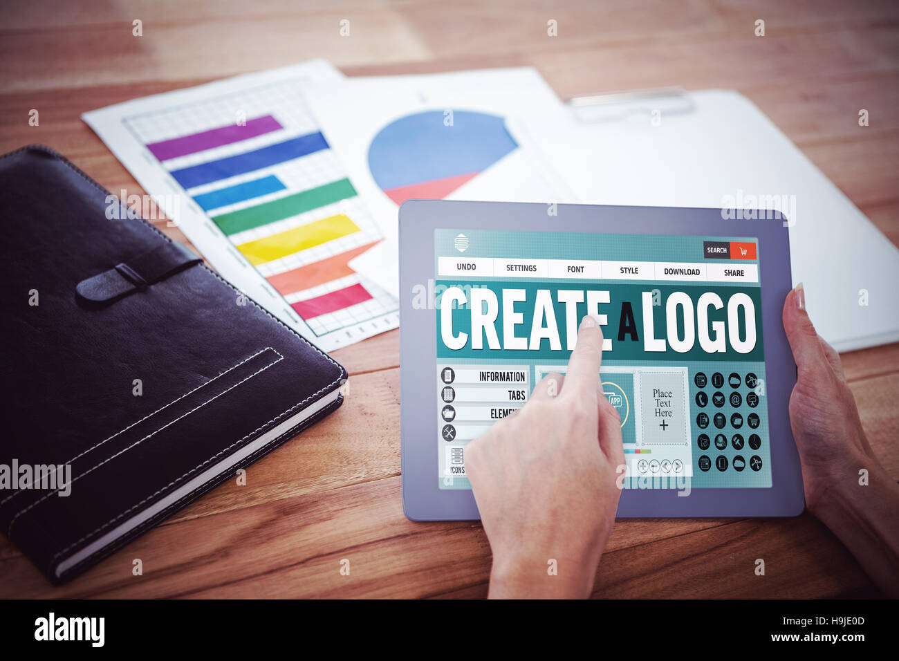 Composite image of webpage for create a logo - Stock Image