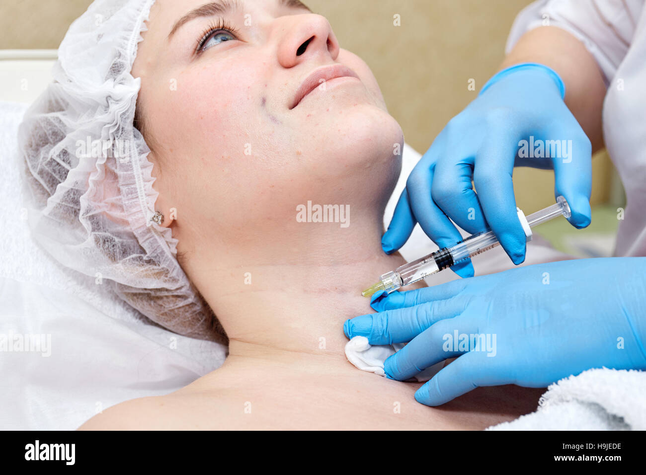 Anti-age injection therapy. Wrinkles reduction - Stock Image