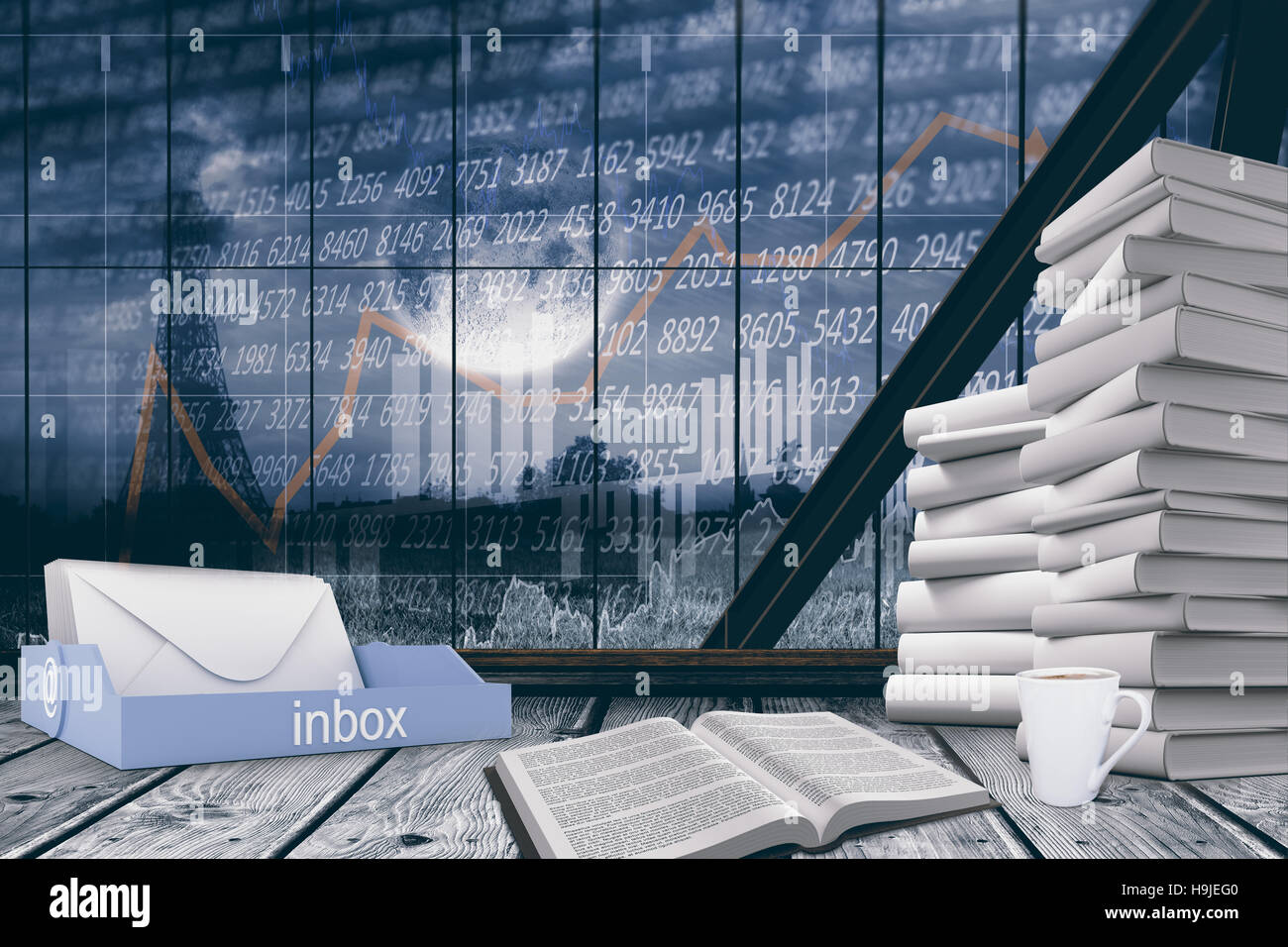 Composite image of an inbox beside books - Stock Image