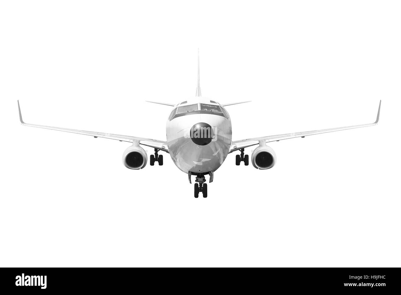 Front view Passenger aircraft isolated on white background with clipping path - Stock Image