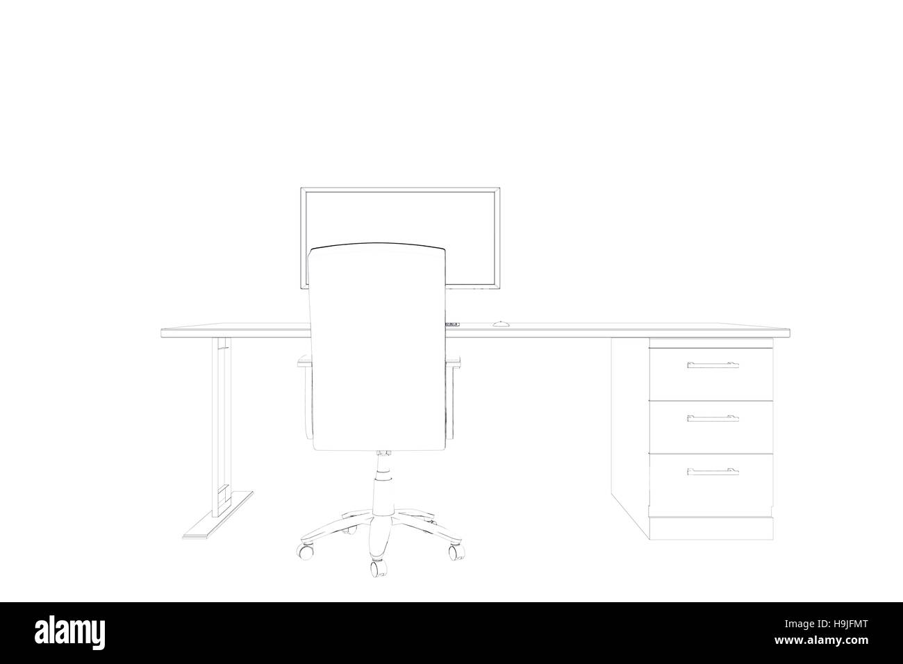 Desk Chair Black And White Stock Photos Images Alamy