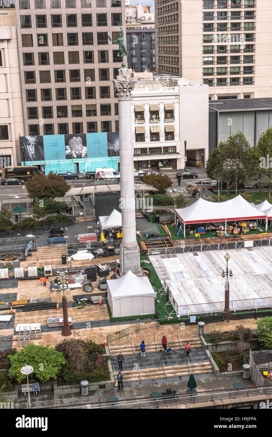 Work in progress in Union Square, San Francisco - Stock Image