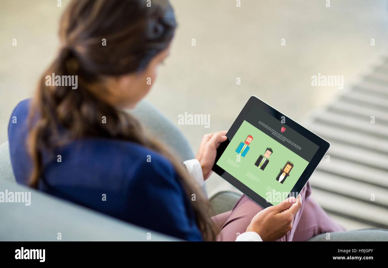 Composite image of company portfolio on a web page - Stock Image