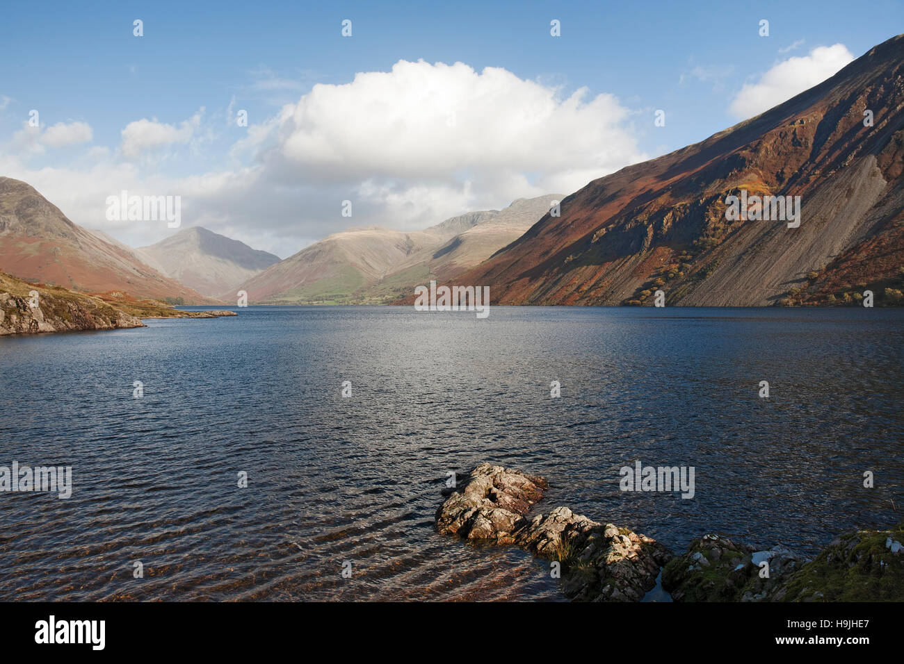 Wast Water in Spring with Kirk Fell in the distant background - Stock Image