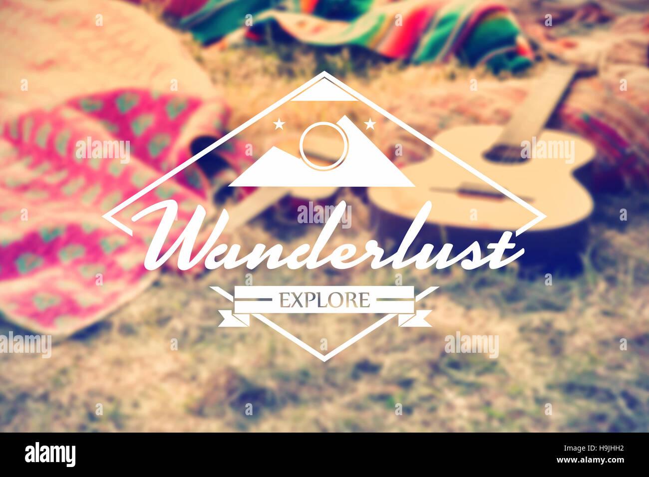 Composite image of wanderlust word - Stock Image