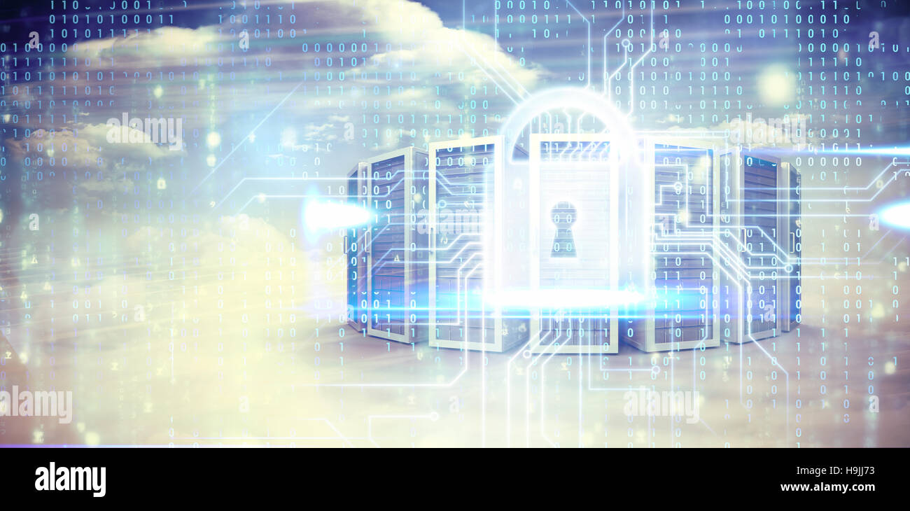 Composite image of blue technology interface with binary code - Stock Image