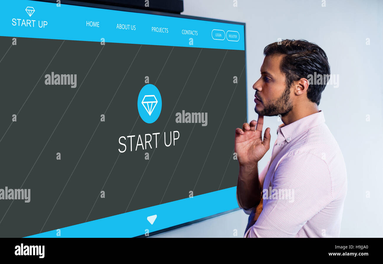 Composite image of main web page on startup website - Stock Image