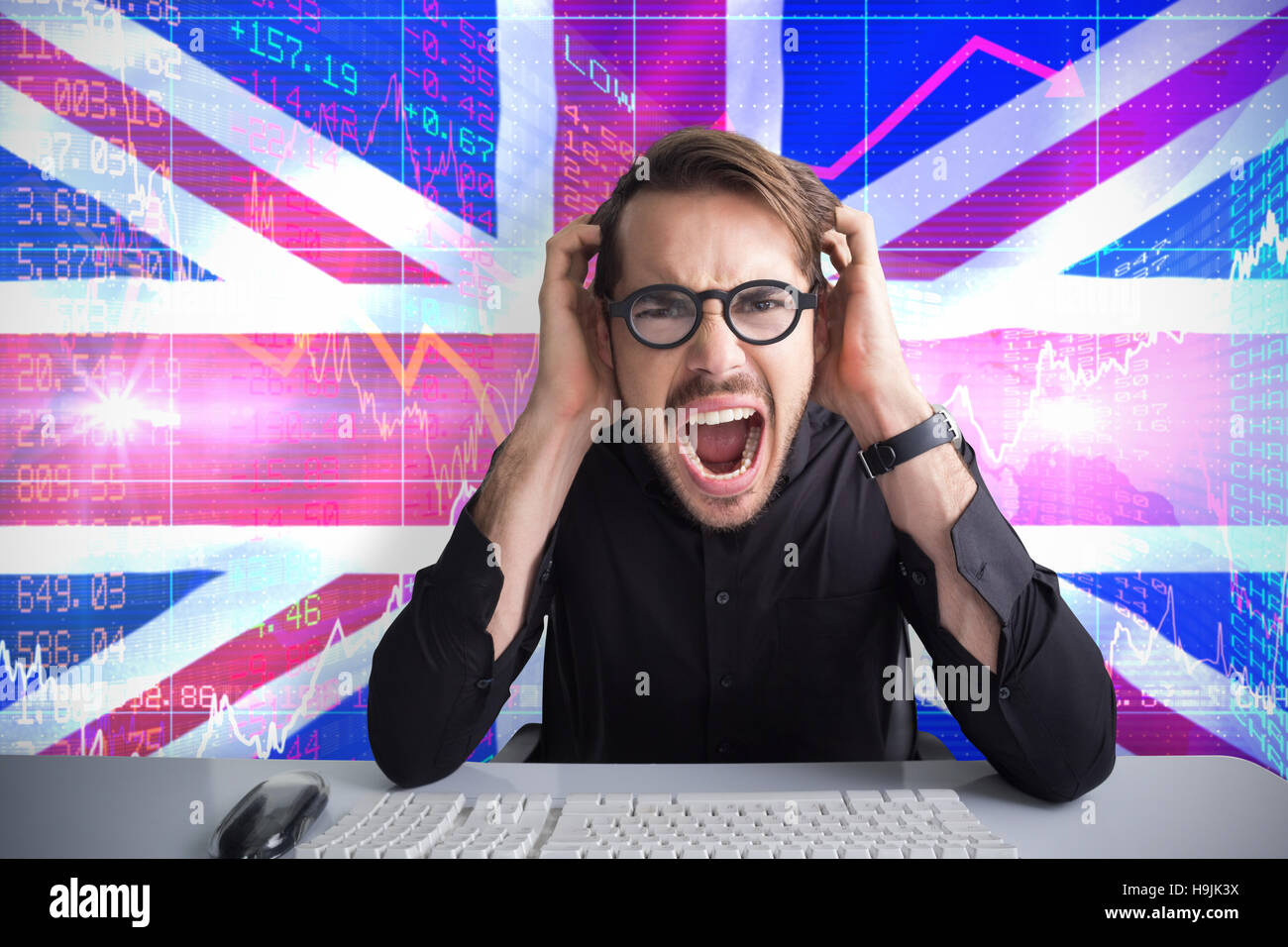 Composite image of businessman yelling with his hands on face - Stock Image