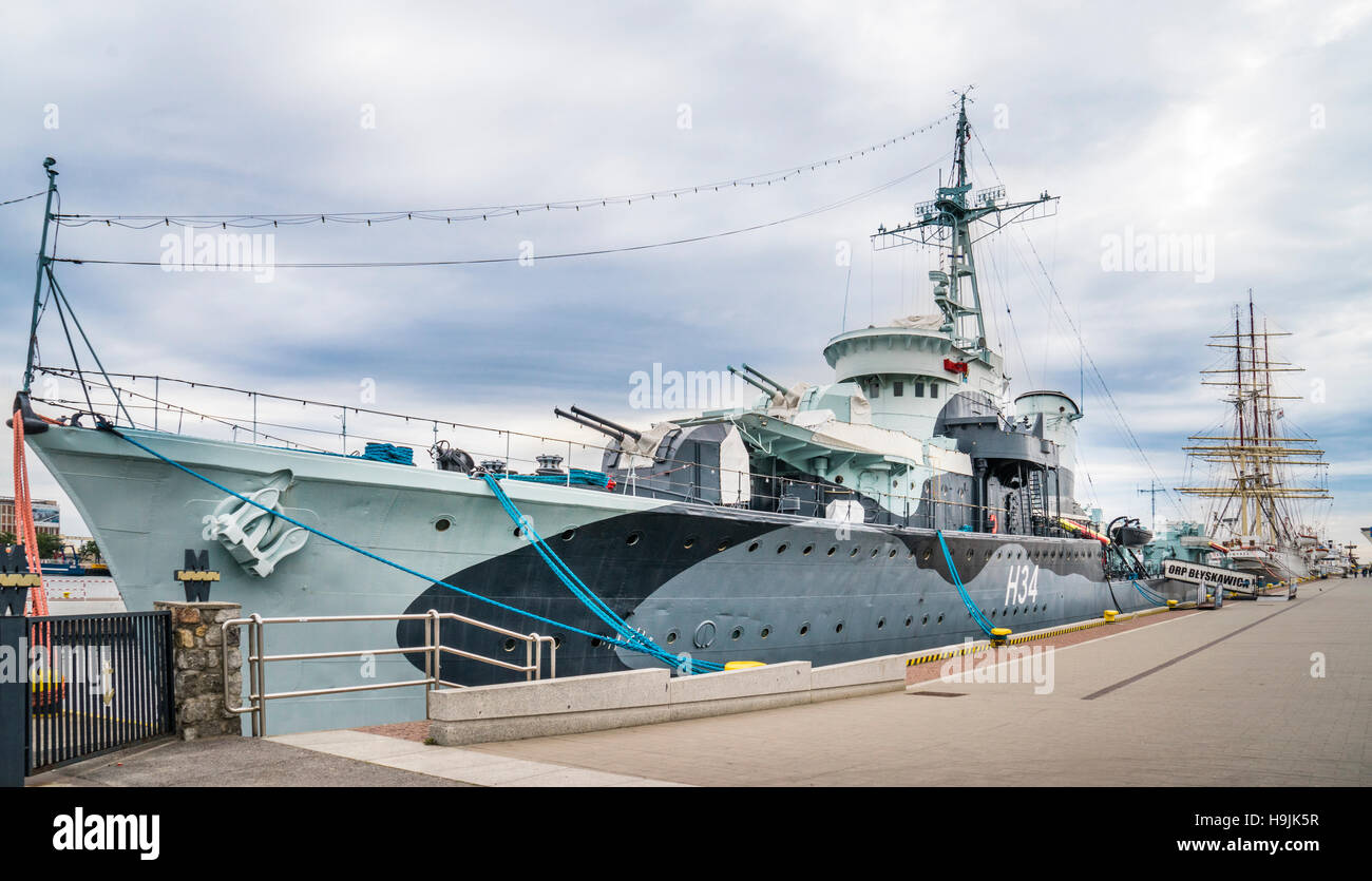 Poland, Pomerania, Gdynia, WW II Polish Navy Grom-class destroyer ORP Blyskawica, museums ship in the Port of Gydinia - Stock Image