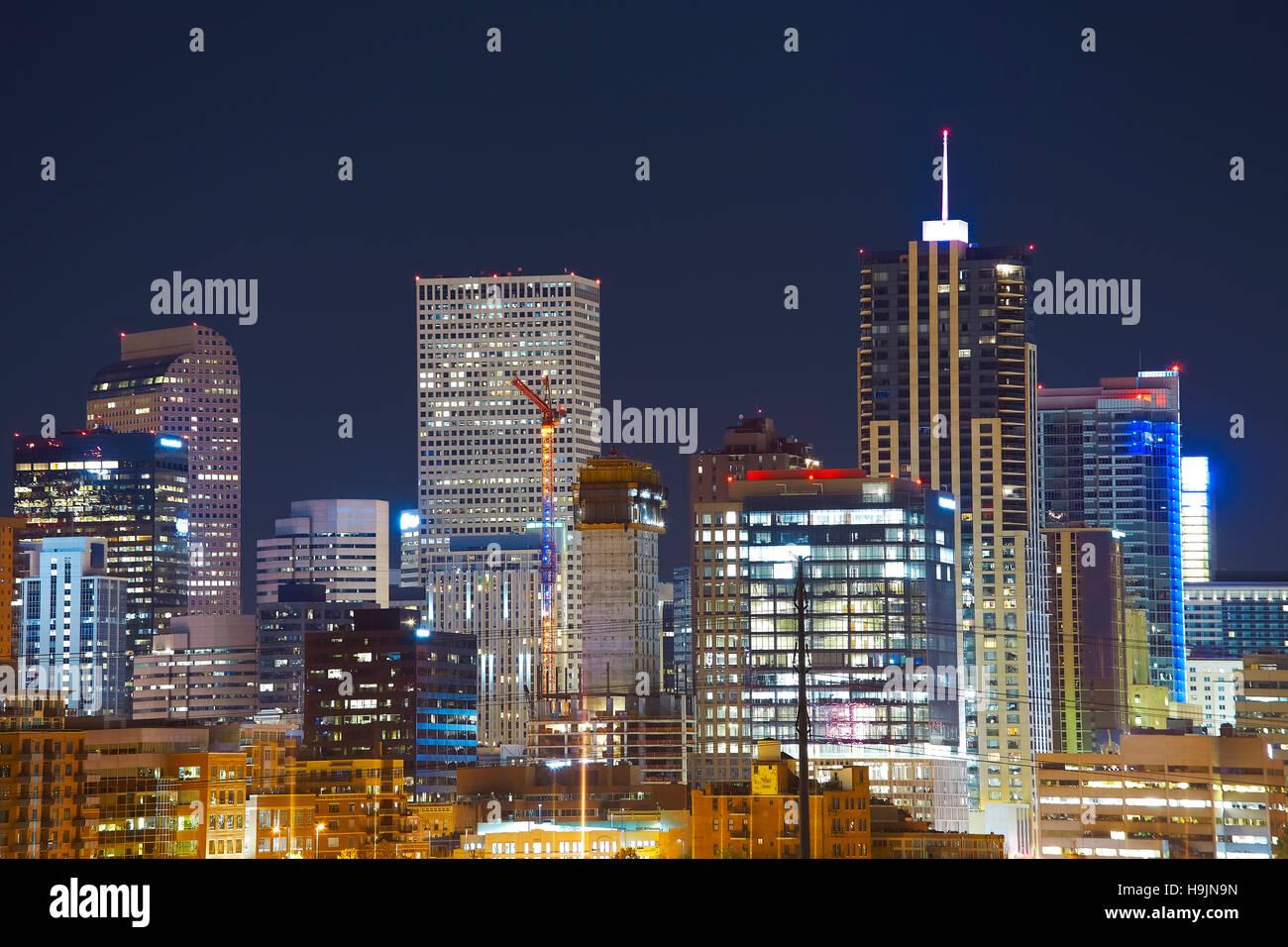 Denver downtown skyline at night, Colorado, USA. - Stock Image