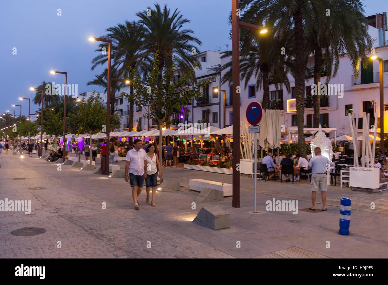 Spain, Balearic Islands, Ibiza, Eivissa, the promenade - Stock Image