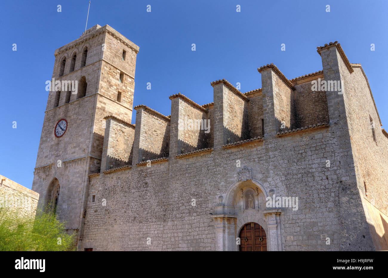 Spain, Balearic Islands, Ibiza, Eivissa, old town Dalt Vila, the cathedral - Stock Image