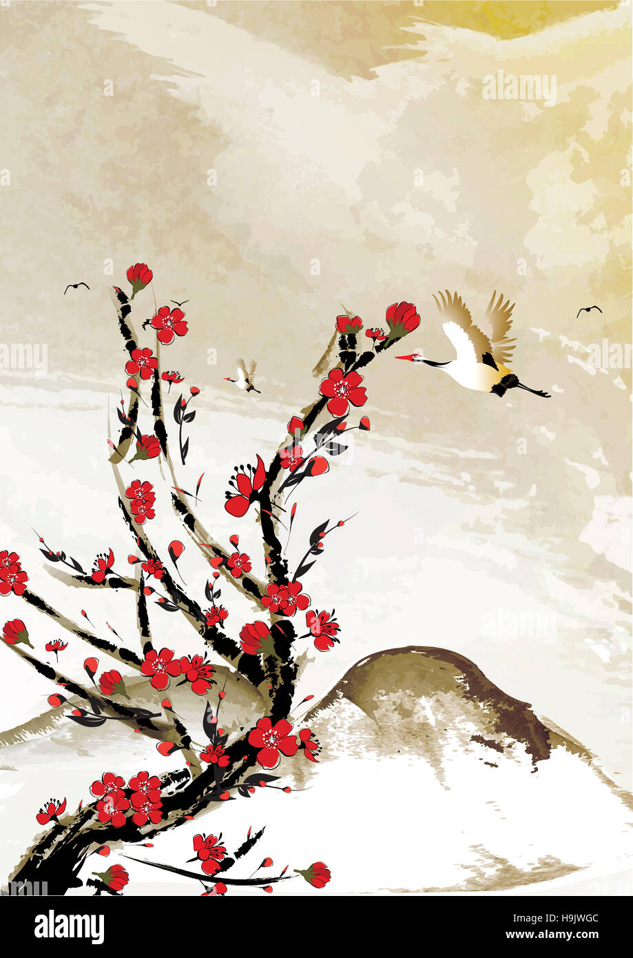 Mountain Background With Cherry Flowers And Crane Birds Japanese