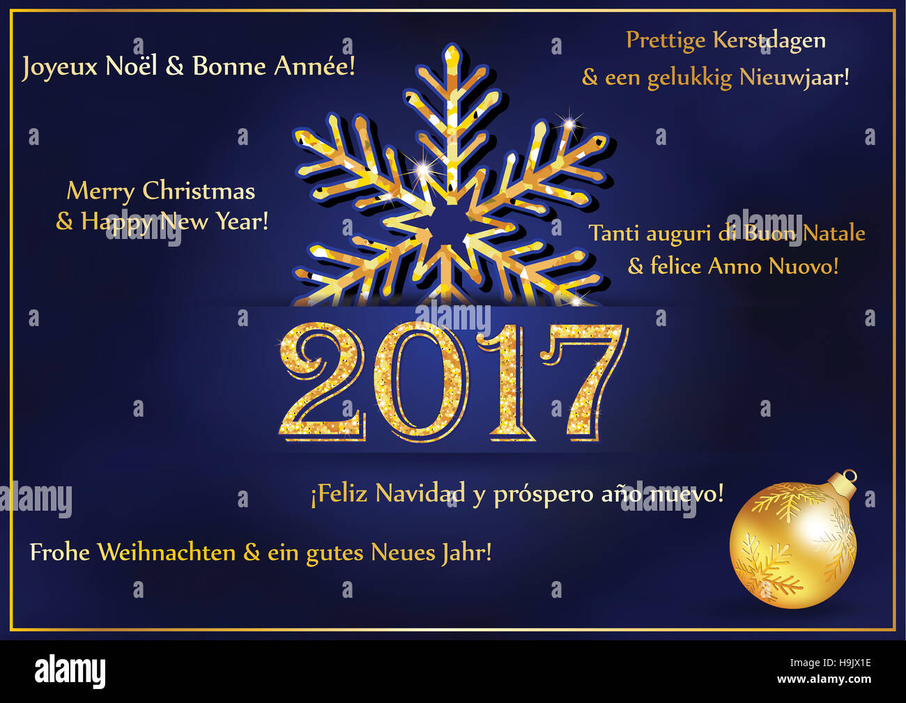 New Year Greeting Card 2017 In Many Languages Text Translation