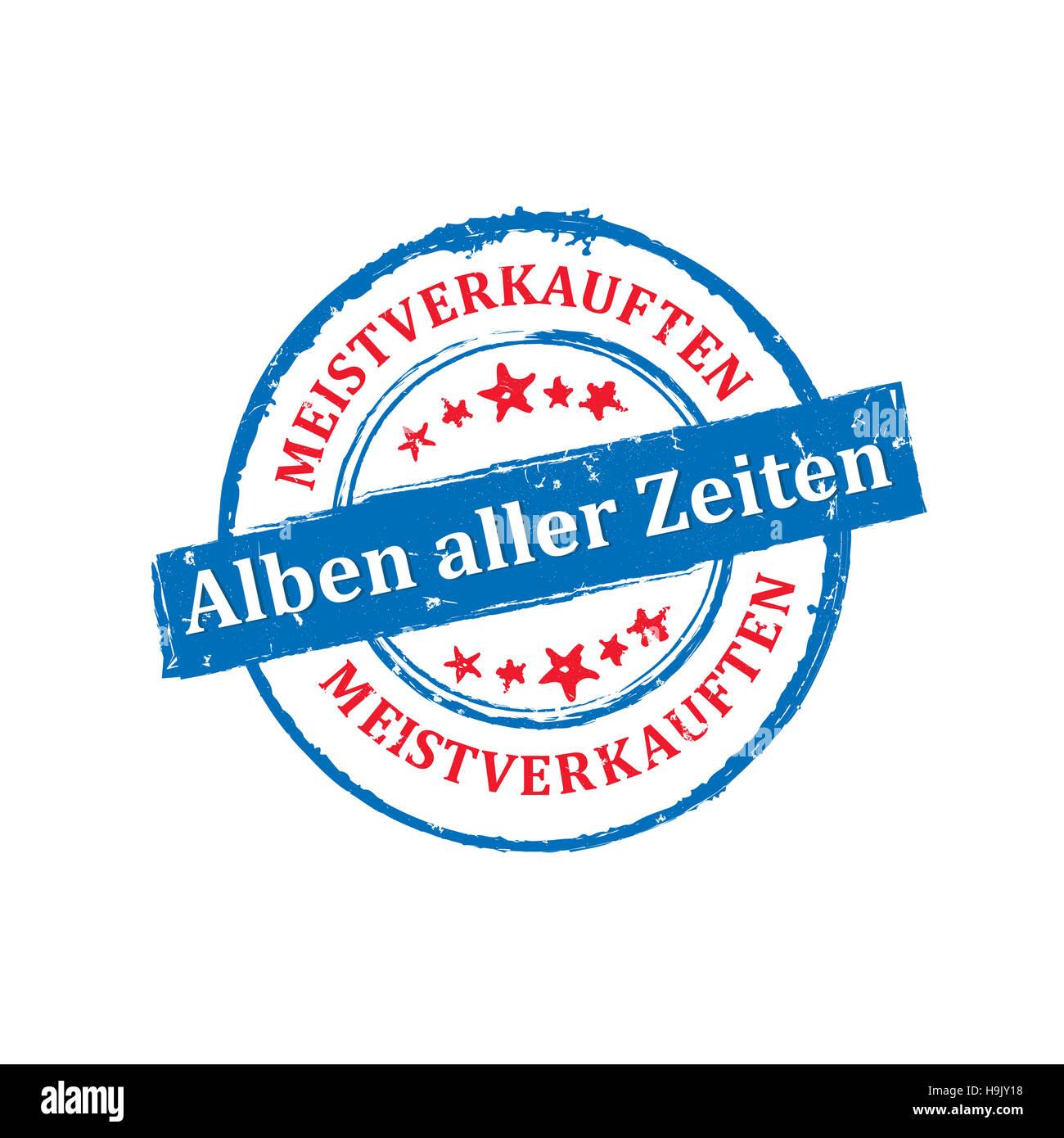 Meistverkauften Alben aller Zeiten - Grunge Stempel Stock Photo