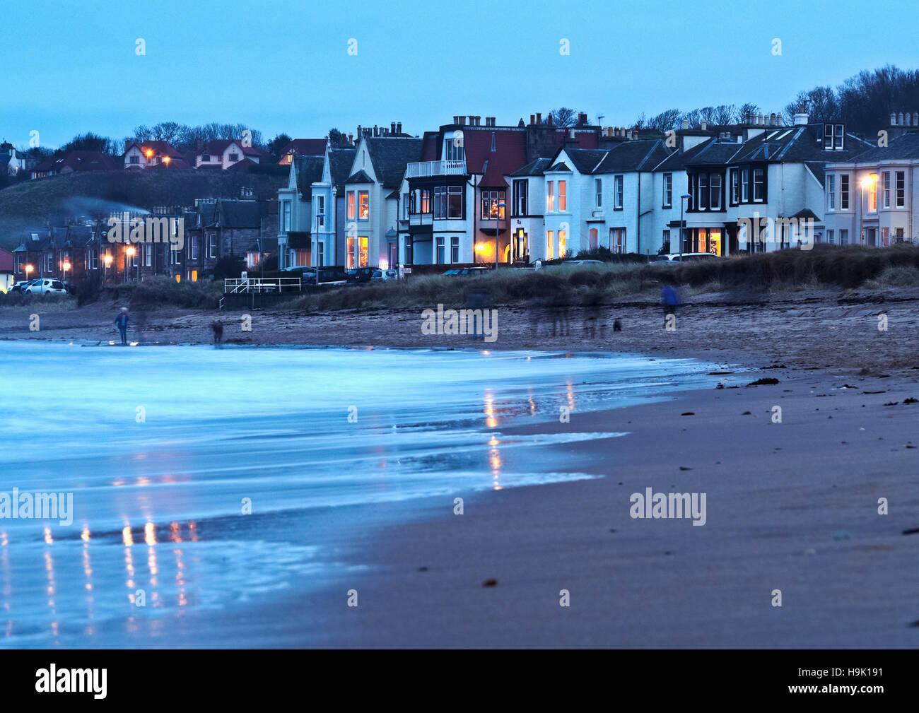 UK, Scotland, East Lothian, North Berwick, Townscape at dusk. Stock Photo