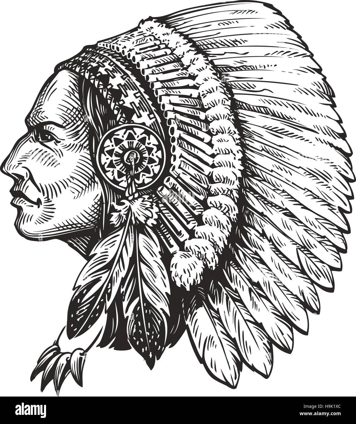 American indian chief. Hand-drawn sketch vector illustration - Stock Image