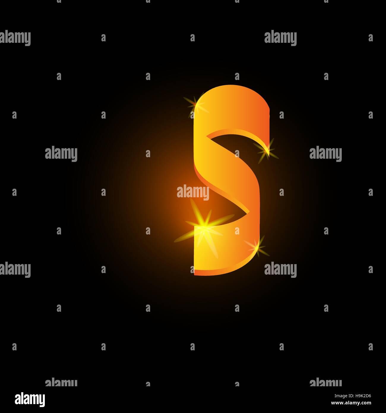 Golden arabic style letter s. Shiny latin alphabet element icon on black background. Oriental calligraphy design. - Stock Image