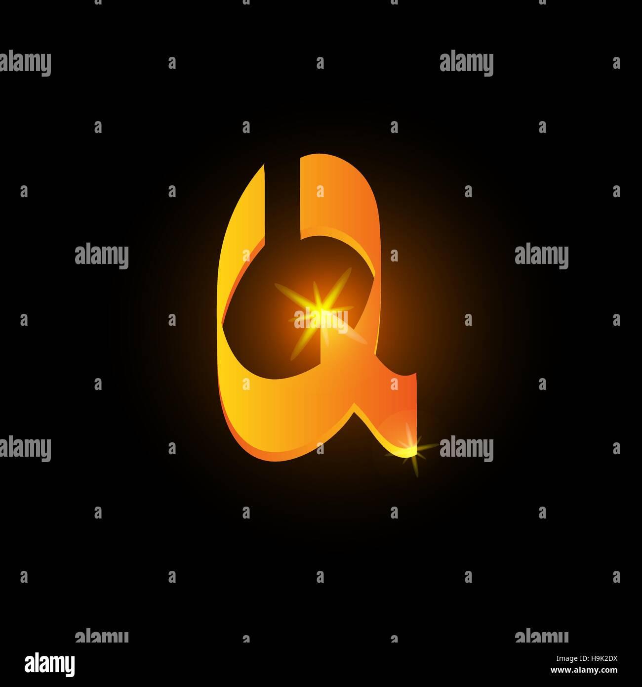 Golden arabic style letter q. Shiny latin alphabet element icon on black background. Oriental calligraphy design. - Stock Image