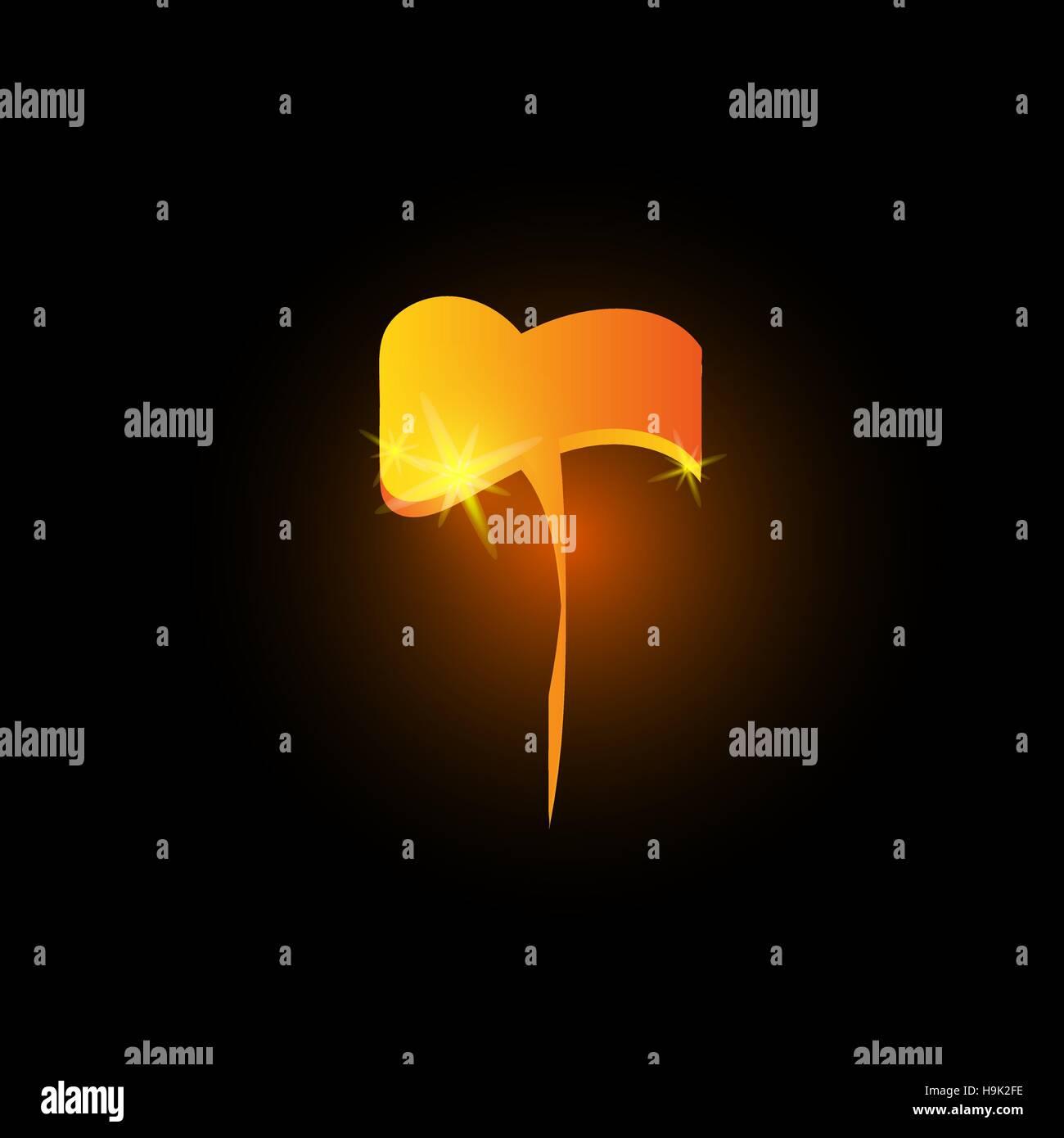 Golden arabic style letter t. Shiny latin alphabet element icon on black background. Oriental calligraphy design. - Stock Image