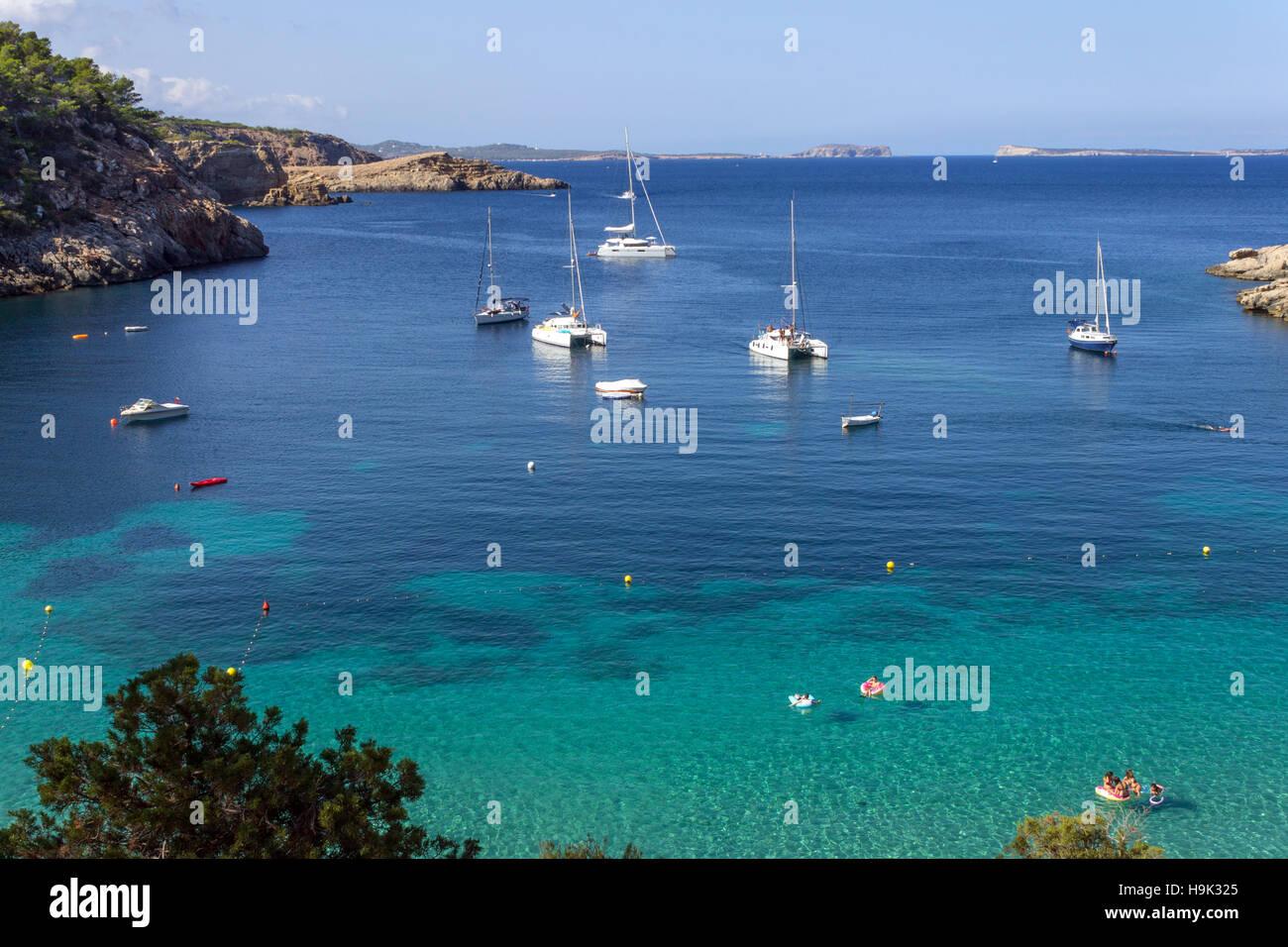 Spain, Balearic Island, Ibiza, Cala Salada beach - Stock Image