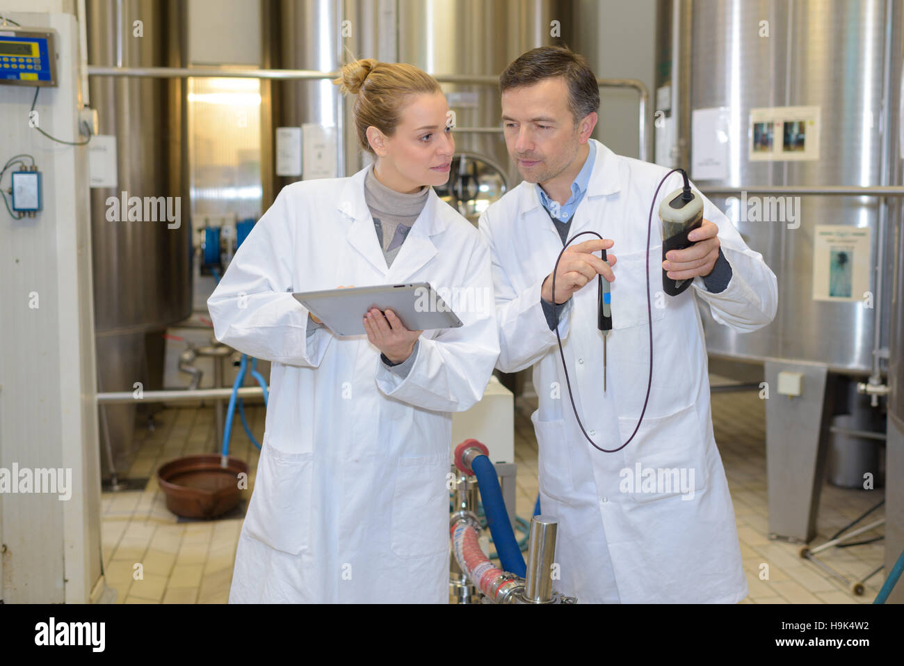 People next to vats holding tablet and probe - Stock Image