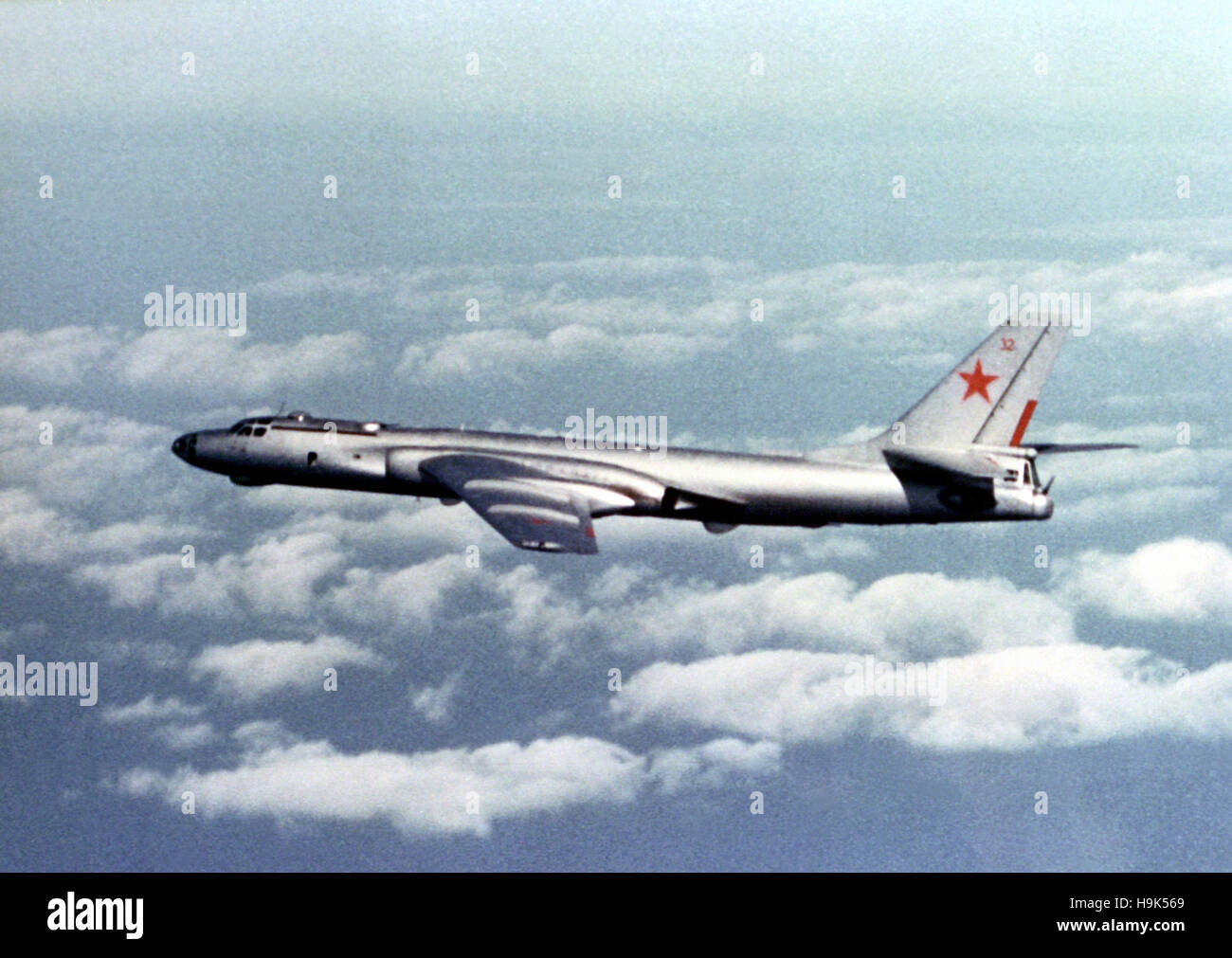 Soviet Tu-16 E aircraft. The Tupolev Tu-16, twin-engined jet strategic bomber used by the Soviet Union. - Stock Image