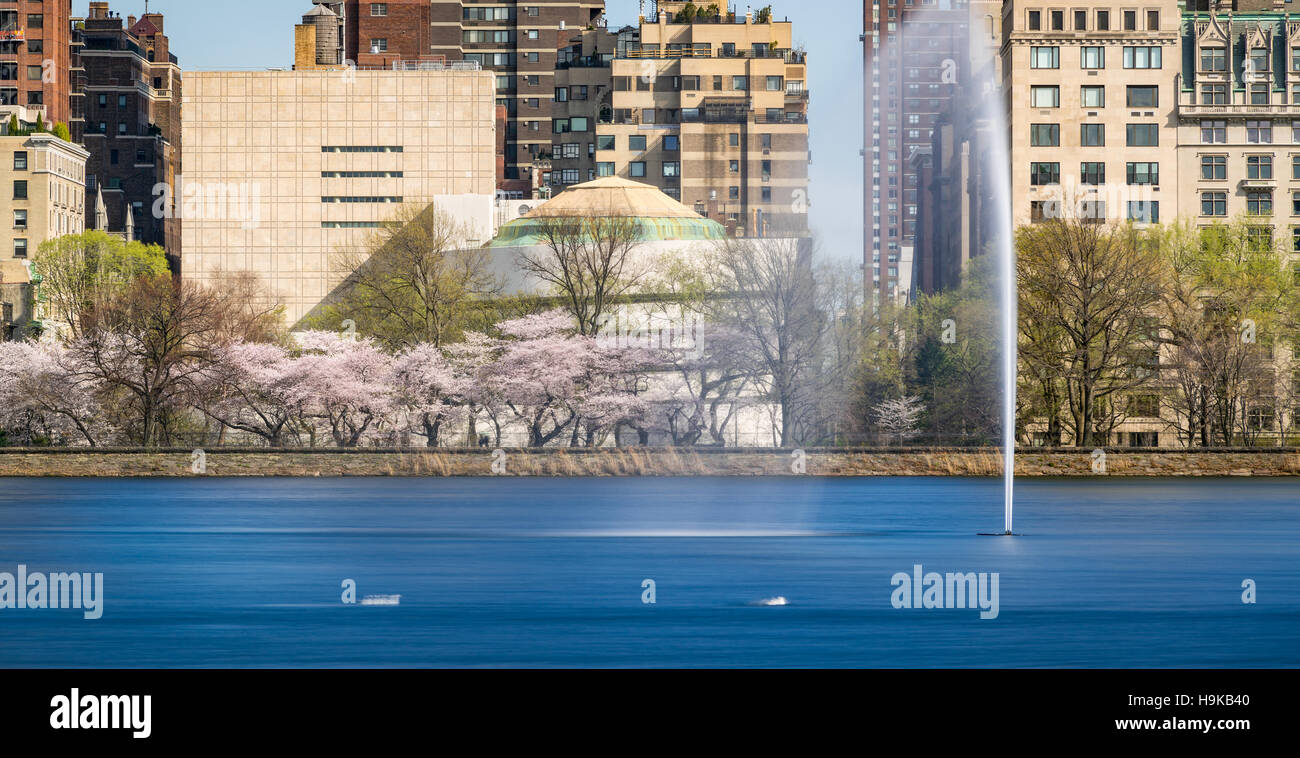 Spring at Central Park Reservoir on the Upper East Side with the Jacqueline Kennedy Onassis Reservoir and fountain. - Stock Image