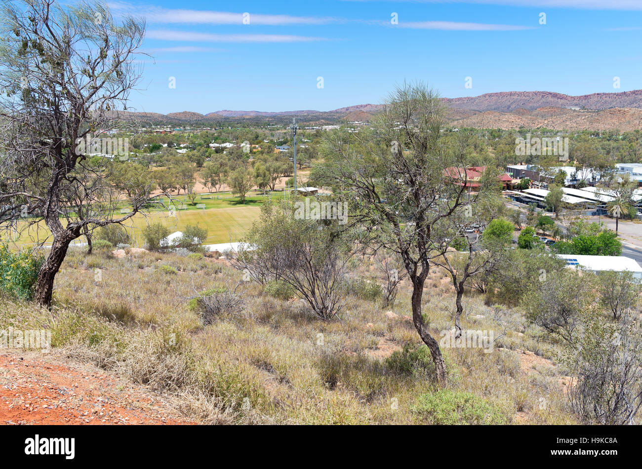 lookout from atop anzac hill in alice springs of northern territory australia - Stock Image