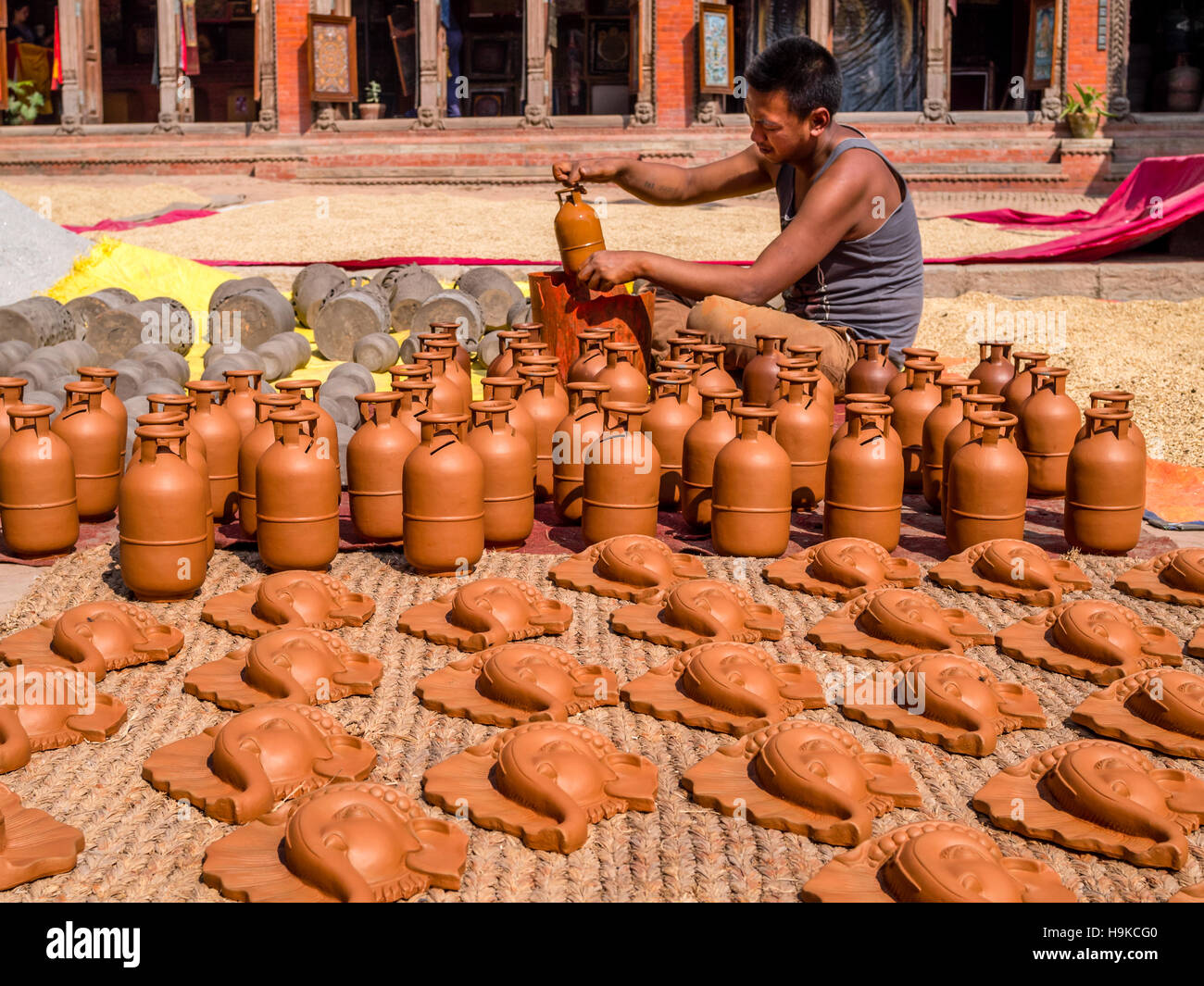 Handmade pottery in Bhaktapur's Pottery Square - Stock Image
