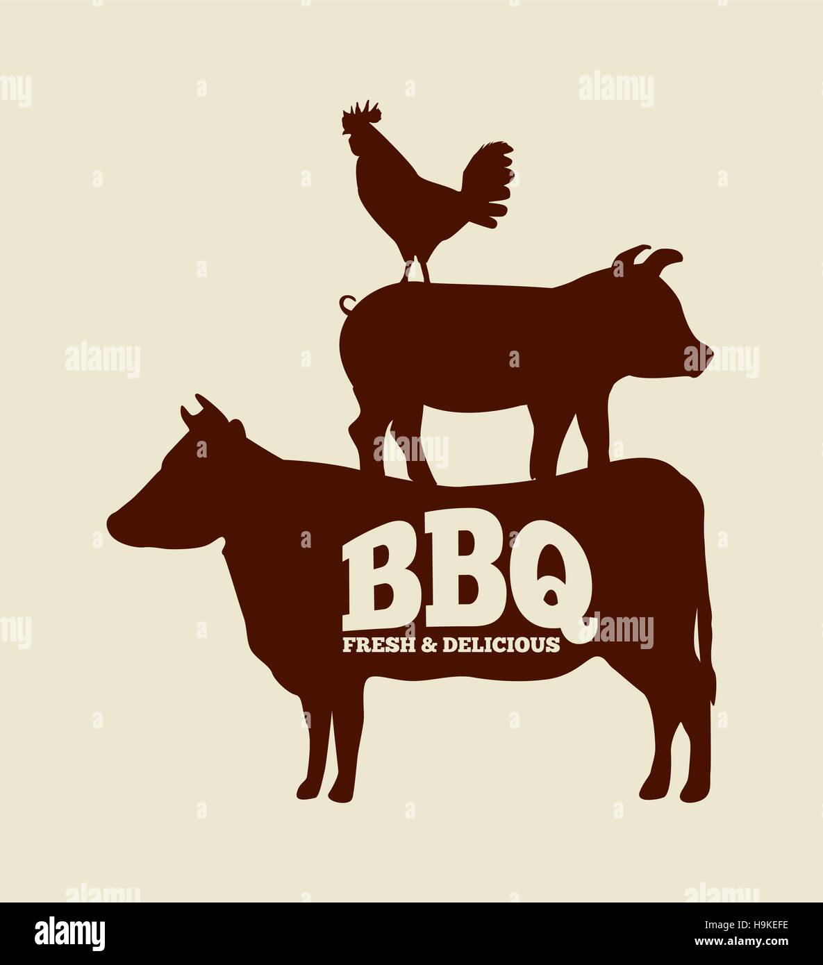 silhouette of chicken  pig and cow with bbq word vector farm animal clip art free farm animals clip art pictures