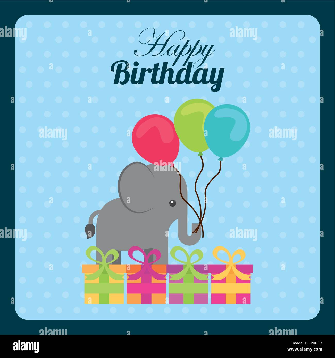 Happy Birthday Card With Cute Elephant Balloons And Gift Boxes Over Blue Background Colorful Design Vector Illustration