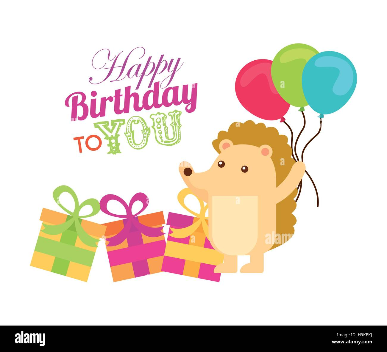 happy birthday card with cute hedgehog holding balloons and gift boxes over white background. colorful design. vector - Stock Image