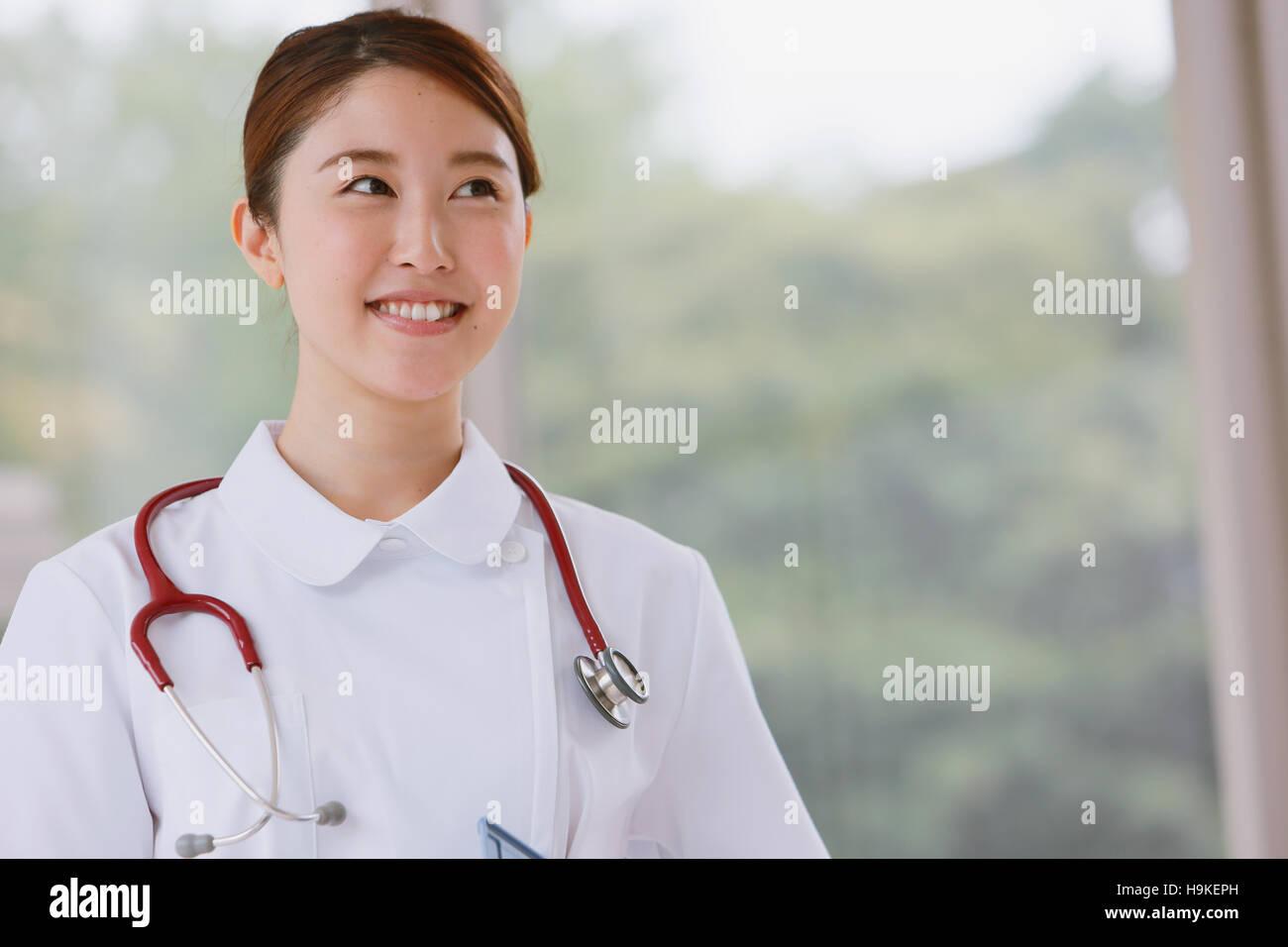 Japanese nurse in the hospital - Stock Image