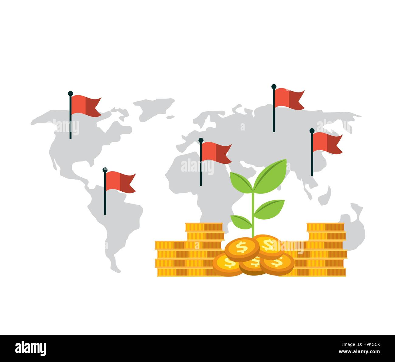 Green plant and gold money coins over world map with red flags stock green plant and gold money coins over world map with red flags background growth funds economy concept colorful design vector illustration gumiabroncs Image collections