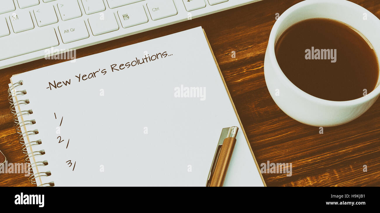 Composite image of new years resolution - Stock Image
