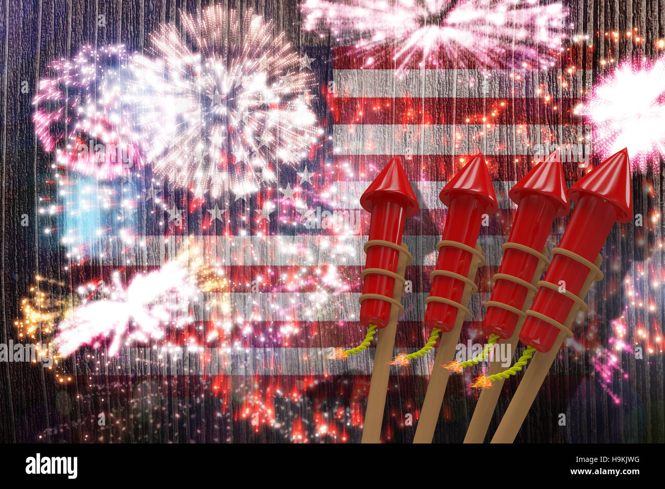 Composite image of 3D rockets for fireworks Stock Photo