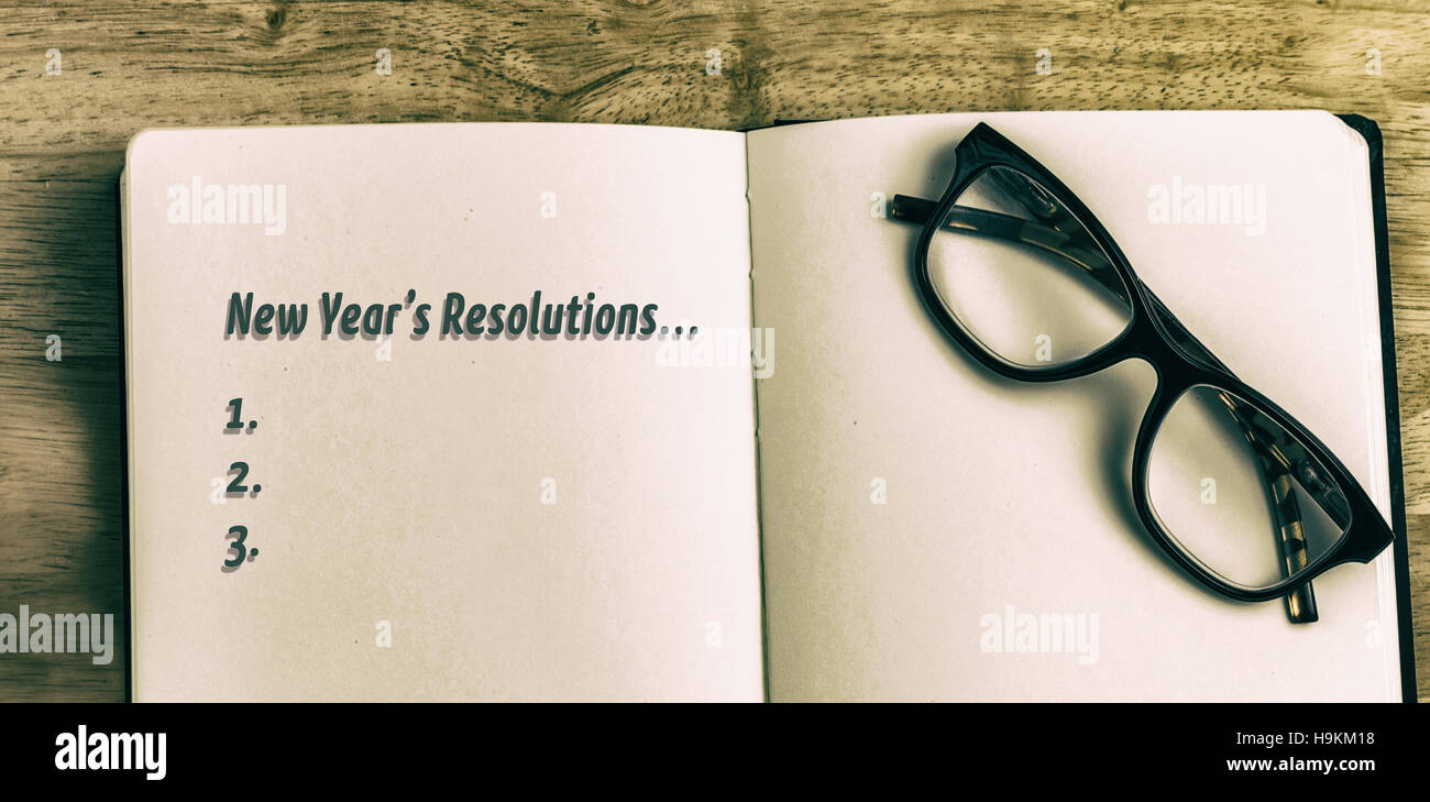 Composite image of new years resolution list - Stock Image