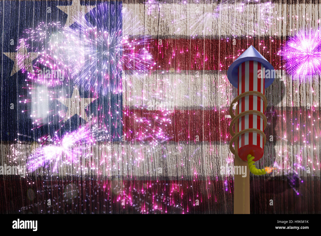 Composite image of 3D rocket for fireworks Stock Photo