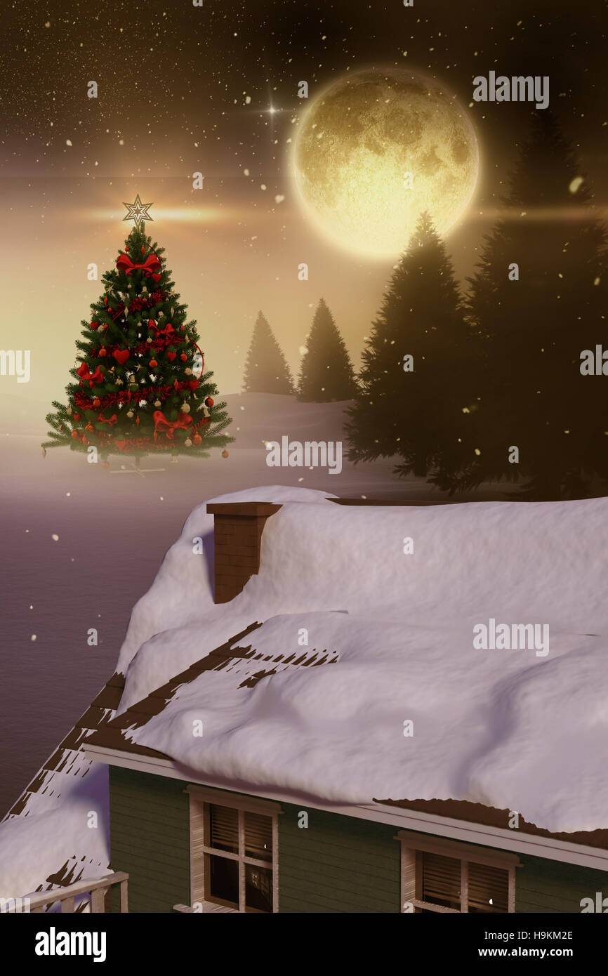 3D Composite image of snow covered roof of house - Stock Image