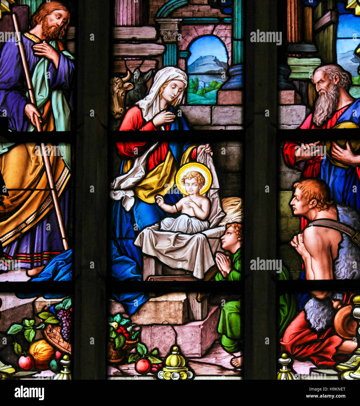 Nativity Scene at Christmas, stained glass window in Saint James church of Stockholm, Sweden. Stock Photo